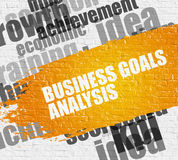 Business Goals Analysis on Brickwall. Stock Photo