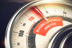 Business Goals Analysis - Business Mode Concept. 3D. Speedmeter with Red Needle Pointing the Text Business Goals Analysis on Red Label. 3D Stock Images