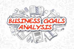 Business Goals Analysis - Doodle Red Text. Business Concept. Cartoon Illustration of Business Goals Analysis, Surrounded by Stationery. Business Concept for Web Stock Photo