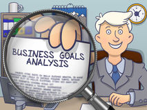 Business Goals Analysis through Magnifying Glass. Doodle Design. Royalty Free Stock Photography