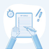 Business goals checklist. Vector flat linear icon Stock Images