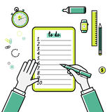 Business goals checklist. Vector flat linear icon. To do list. Top view. Idea - Business planning, my goals, management and company strategy concept Royalty Free Stock Images