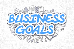 Business Goals - Doodle Blue Text. Business Concept. Business Goals Doodle Illustration of Blue Inscription and Stationery Surrounded by Doodle Icons. Business Royalty Free Stock Photography