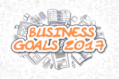 Business Goals 2017 - Doodle Orange Word. Business Concept. Stock Images