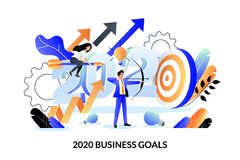 Free Business Goals, Future Achievement Plan For 2020 New Year. Vector Illustration. Expectation And Perspective Concept Stock Photos - 163486863
