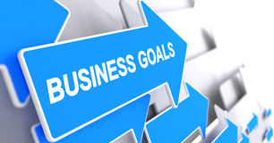 Business Goals - Label on the Blue Pointer. 3D. Business Goals - Blue Cursor with a Text Indicates the Direction of Movement. Business Goals, Inscription on Royalty Free Stock Photos