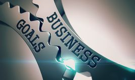 Business Goals - Mechanism of Shiny Metal Gears. 3D. Metal Cog Gears with Business Goals Inscription. Business Goals on the Mechanism of Metallic Cog Gears with Royalty Free Stock Image