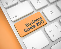 Business Goals 2017 - Message on the Orange Keyboard Keypad. 3D. Up Close View on Modern Keyboard - Business Goals 2017 Orange Button. Modern Laptop Keyboard Royalty Free Stock Image