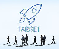 Business Goals Rocketship Target Concept. Business People Talks Goals Rocketship Target Royalty Free Stock Photos