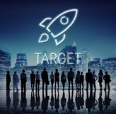 Business Goals Rocketship Target Concept. Business Goals Rocketship Target Strategy Stock Images