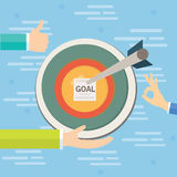Business goals target concept vector illustration. Flat Royalty Free Stock Images