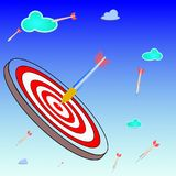 Business goals on target ,illustration. Business goals on dart board target ,illustration vector Stock Photography