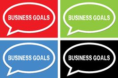 BUSINESS GOALS text, on ellipse speech bubble sign. BUSINESS GOALS text, on ellipse speech bubble sign, in color set Royalty Free Stock Images
