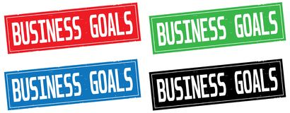 BUSINESS GOALS text, on rectangle stamp sign. BUSINESS GOALS text, on rectangle stamp sign, in color set Stock Photo