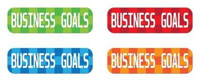 BUSINESS GOALS text, on rectangle, zig zag pattern stamp sign. BUSINESS GOALS text, on rectangle, zig zag pattern stamp sign, in color set Stock Photography