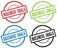 BUSINESS GOALS text, on round simple stamp sign. BUSINESS GOALS text, on round simple stamp sign, in color set Royalty Free Stock Photo