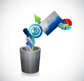 Business going to the trash concept. illustration Royalty Free Stock Photo