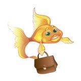 Business goldfish isolated. Isolated illustration of cute goldfish with case Royalty Free Stock Photo