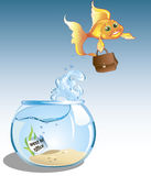 Business goldfish went. Cute cartoon goldfish with case is going to office Royalty Free Stock Image