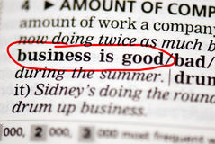 Business is good. Dictionary entry stock image