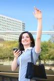 business goodbye waving woman 免版税图库摄影