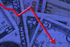 Business graph. Illustration of a graph falling with dollars as a back ground Stock Images