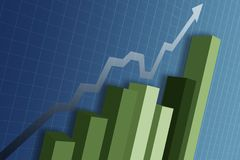 Business Graph. With arrow showing profits and gain Stock Illustration