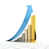 Business graph. The metaphor of commercial growth - columns timetable for increasing values take the form of more expensive precious metal royalty free illustration