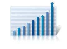 Business Graph. With profits rising off the chart. Graph on a white reflective background Royalty Free Stock Images