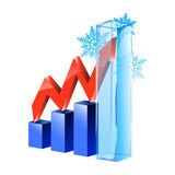 Business graph. With red arrow up Royalty Free Stock Photography