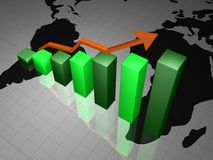 BUSINESS GRAPH. With arrow showing profits and gains on world map Stock Photo