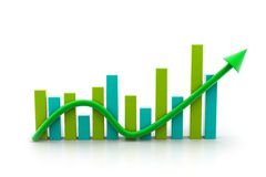 Business graph. Digital illustration of business graph with arrow showing growth and profit Royalty Free Stock Photos