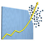 Business Graph. 3D illustration of exploding graph, showing rapid growth Royalty Free Stock Images