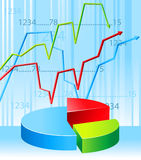 Business graph. Blue background with business graph Stock Images