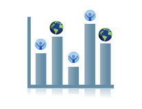 Business graph. Globe and people chart Royalty Free Stock Photos