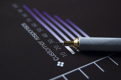 Business Graph. Macro of customer response graph and pencil with differential focus and selective lighting stock photo