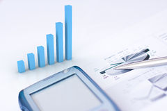 Business graph. Business still life with bar chart - space for label royalty free stock images