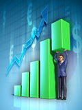 Business graph. Businessman push with its hands the highest section of a bar graph. Digital illustration Stock Photography