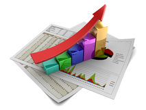 Business graph. 3d illustration of rising charts with red arrow Royalty Free Stock Image