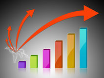 Business graph. With arrow showing profits Royalty Free Stock Photo