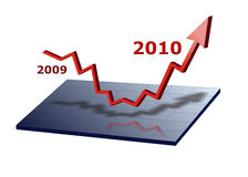 Business graph 2010. Red business graph is going up to success for 2010 Stock Images