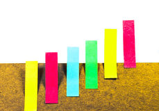 Business Graph. Made from sticky note with white isolated Stock Photos