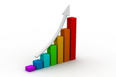 Business graph. 3d illustration of business graph in white background Royalty Free Stock Photos