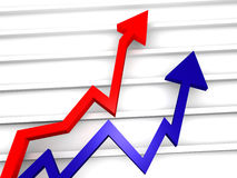 Business Graph. With arrow showing profits stock illustration