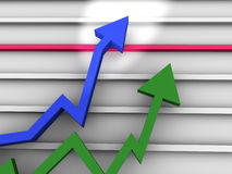 Business Graph. With arrow showing profits Stock Photography