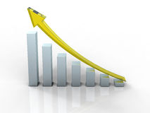 Business graph. 3D business graph with yellow arrow up Royalty Free Stock Photos
