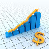 Business Graph. With dollar sign Royalty Free Stock Photography