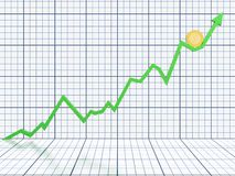Business graph. Moving up and showing money earning Royalty Free Stock Images