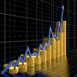 Business graph. Moving up and showing money earning Stock Photos