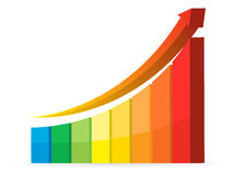 Business graph. Shiny business graph with growing arrow Royalty Free Stock Image